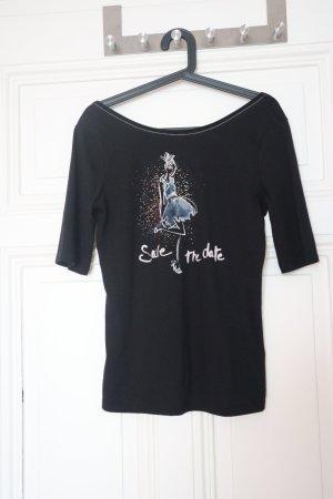 Schwarzes Shirt (3/4 Arm) mit schönem Muster (Größe: S)
