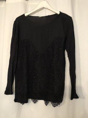 schwarzes Shirt mit 3/4 Ärmeln von Rich & Royal in S