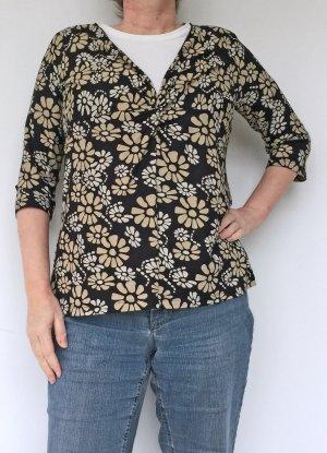 schwarzes Shirt mit beigem Blumendruck, Orwell, Größe 46