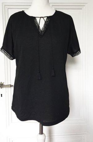 Defacto V-Neck Shirt black viscose