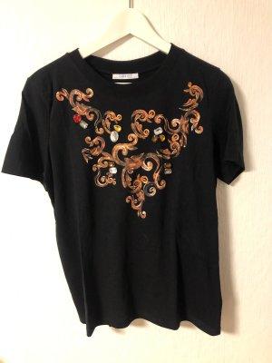 Schwarzes Shirt mit Glitzersteinen von Zara