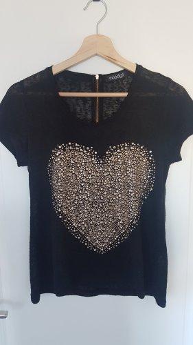 schwarzes Shirt mit goldfarbenem Herz