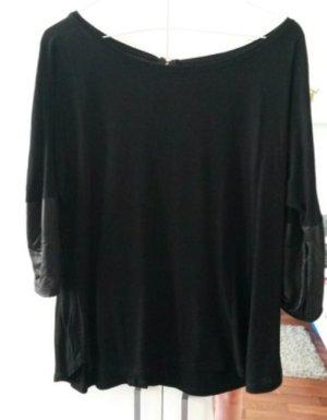 Schwarzes Shirt mit Lederämel