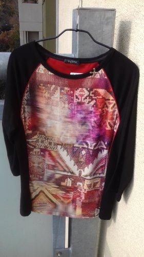 Schwarzes Shirt mit Muster Gr. 40 von VIA APPIA