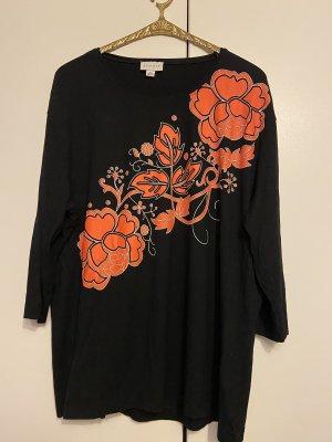 Schwarzes Shirt mit orangem Blumen Aufdruck Gr 49 / 50