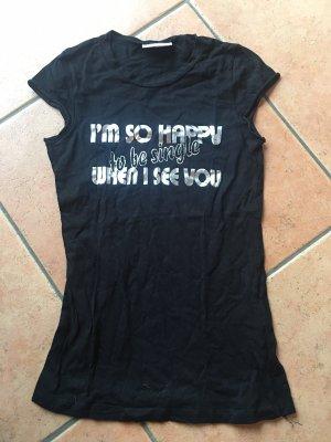 schwarzes Shirt mit silbernem Aufdruck