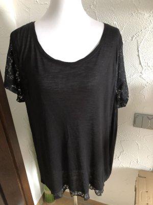 schwarzes Shirt mit Spitze von Sheego - Gr. 44/46