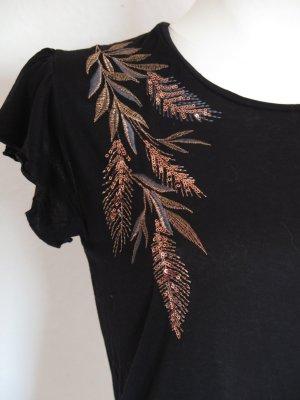 schwarzes Shirt mit Stickerei Gr. S von Promod