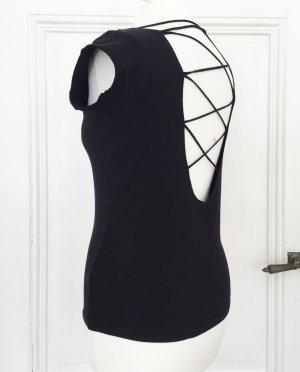 Schwarzes Shirt mit tiefem Rückenausschnitt