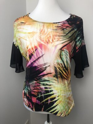 Schwarzes Shirt mit Tropen Muster Größe S