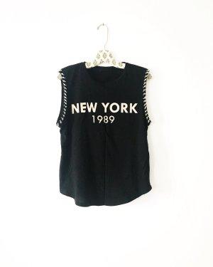 schwarzes shirt / top / new york / vintage / edgy / boho / hippie