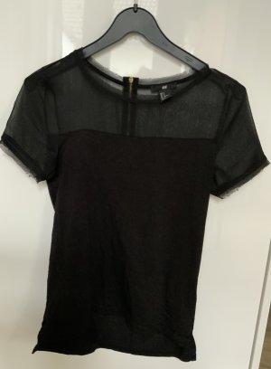 H&M Camisa de malla negro Viscosa