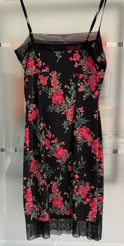 Schwarzes Spaghetti-Träger-Kleid mit wunderschönem Blütenmuster