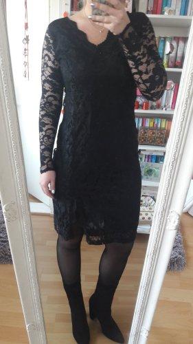 Schwarzes Spitzenkleid langarm Dress chic