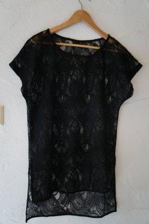 Schwarzes Spitzenlongtop transparent Gina Tricot Größe XS
