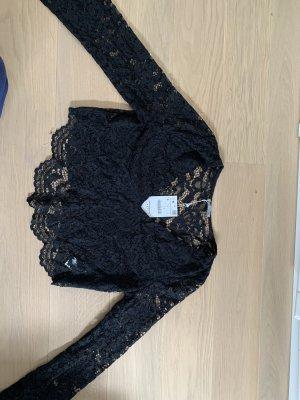 Zara Woman Top de encaje negro