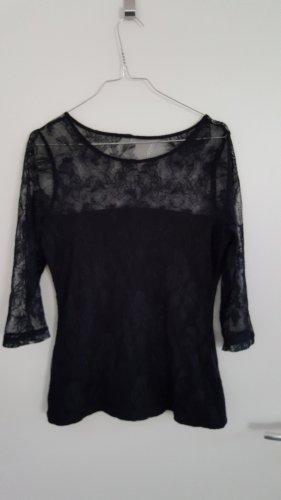 Schwarzes Spitzenshirt von H&M, tailliert, schmal geschnitten, Größe: L