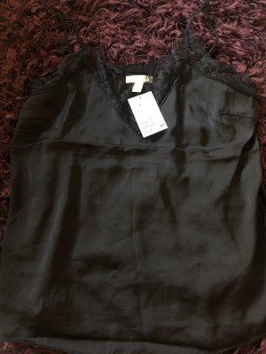 H&M Kanten topje zwart Polyester