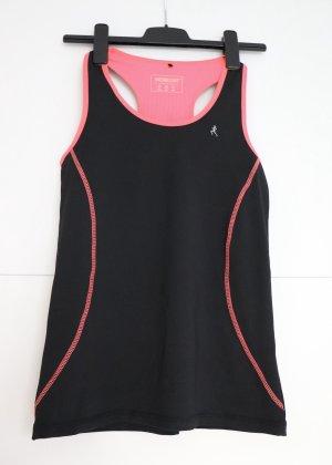 Schwarzes Sporttop mit pinken Streifen