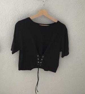 Zara Basic Camicia cropped nero Cotone