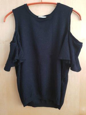 schwarzes T-Shirt mit Ärmelausschnitt