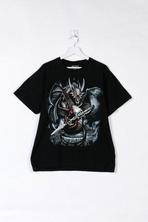 Schwarzes T-Shirt mit Drachenprint in L