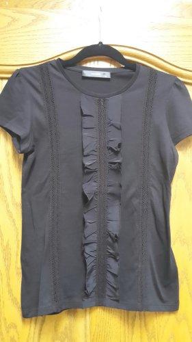 Schwarzes T-Shirt mit kleinen Rüschen von Hallhuber - Neuwertig - Ungetragen!