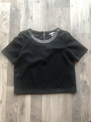 Schwarzes t-Shirt mit Perlen