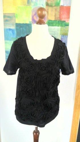 Schwarzes T-Shirt mit Rosen von Zara, Gr. M