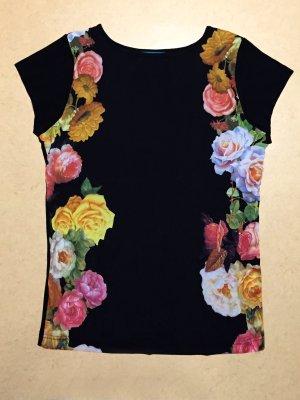 schwarzes T-Shirt mit Rosenmotiv, Gr. 42