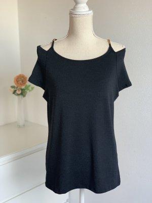 Schwarzes T-Shirt mit Schulterdetail von Anna Field Gr. 38 NEU