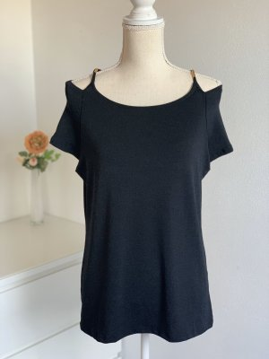 schwarzes T-Shirt mit Schulterdetails