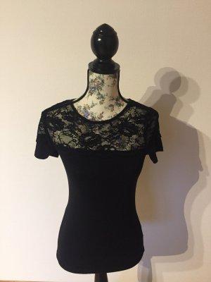 Schwarzes T-Shirt mit Spitze, H&M