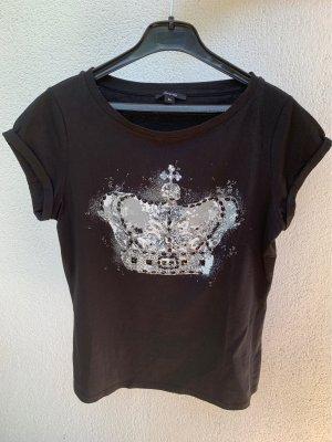 Schwarzes T-Shirt von Comma mit Steinchen