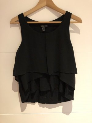 Mango Suit Top con balze nero
