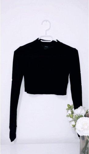 Schwarzes top oberteil shirt schwarz cropped crop