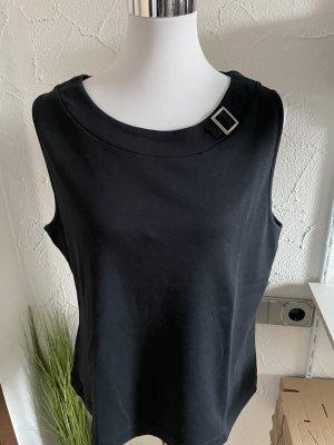 schwarzes Top / Shirt mit Schnalle - Gr. L