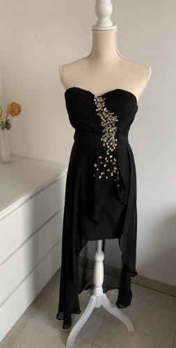 Schwarzes trägerloses Vokuhila Abendkleid / CocktailKleid