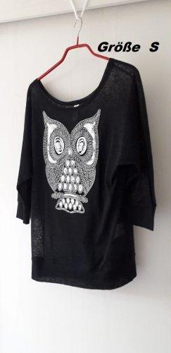 Schwarzes transparentes Shirt mit Eule