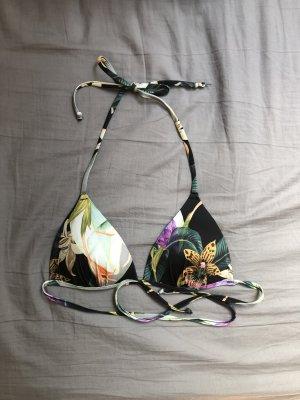 Schwarzes Triangel Bikini Top mit Blumen Muster