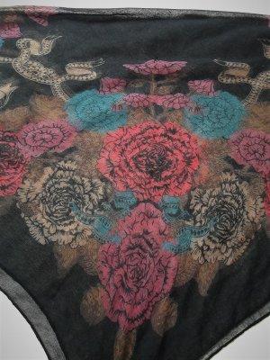 Schwarzes Tuch mit buntem Rosen-Print vintage Tasseln Dreiecks-Tuch Schal