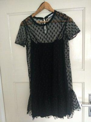 Schwarzes Tüllkleid mit Sternenmuster und Unterkleid von edc, kaum getragen