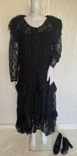 Schwarzes Vintage Kleid aus hochwertiger französischer Spitze