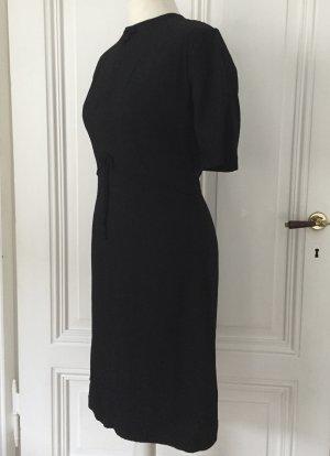 Schwarzes Vintage Kleid mit Schleifen und Rankenmuster