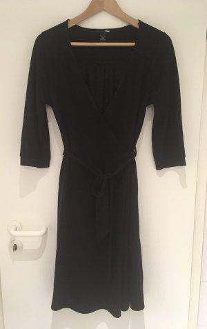Schwarzes Wickel-Strickkleid mit Wolle von H&M in Größe 38 (40)