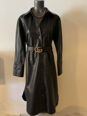 Zara Women Robe en cuir noir