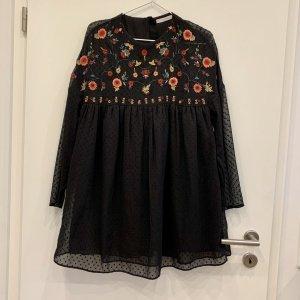 Schwarzes Zara Plumetis Kleid / Jumpsuit Blumen Stickerei Small 36