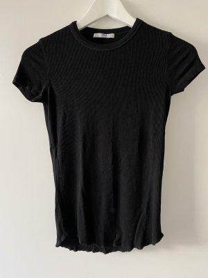 Schwarzes Zara T-Shirt mit Rippenmuster