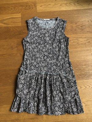 Promod Vestido estilo flounce blanco-negro
