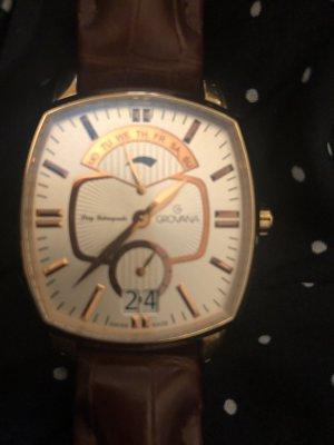 Groovy Girl Reloj con pulsera de cuero marrón-negro